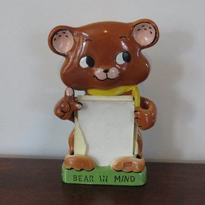 Bear Hanging Note Pad Holder, Bear In Mind, Ceramic, Made in Japan